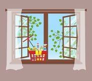 Basket with detergents on the windowsill. Cleaning concept. Open window with curtains on a brown background. Outside the window there are tree branches with royalty free illustration