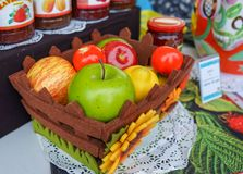 Basket with different fruits in the street shop of jam, compotes and jams stock photo