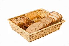 Basket with different kind sliced bread Royalty Free Stock Photo