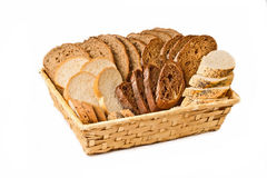Basket with different kind sliced bread Royalty Free Stock Image