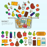 Basket with different products Royalty Free Stock Photo