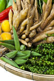 A basket of different thai home-grown vegetables. Isolated of  basket of thai home-grown vegetables Royalty Free Stock Photography