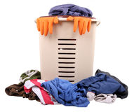 Basket with dirty clothes. Basket with a  pile of dirty laundry Royalty Free Stock Image