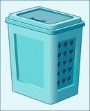 BASKET FOR DIRTY CLOTHES AND LINEN. Image of a plastic container for storing things that need washing Stock Photos