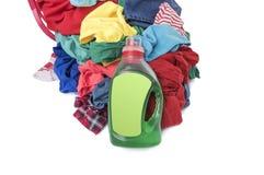 Basket of dirty laundry washing. Royalty Free Stock Photo