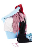 Basket of dirty laundry on white Royalty Free Stock Image