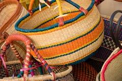 Basket display3. Colorful basket display stock photography