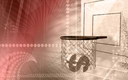 Basket and dollar sign Stock Photo