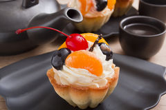 Basket of dough with cream and cherry Royalty Free Stock Image
