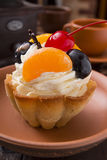 Basket of dough with cream and cherry Stock Photography