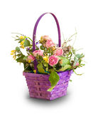 Basket with dried flowers. Basket of dried flowers on a white background. Ikebana Stock Photo