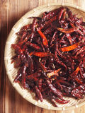 Basket of dried red chilies Stock Photography