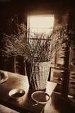 Basket Dried Twigs Stock Photo