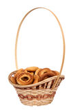 Basket with dry bread-ring Royalty Free Stock Images