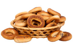 Basket with dry bread-ring Stock Photo
