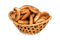 Basket with dry bread-ring Stock Images