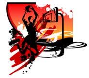 basket dunk silhouettesslam Fotografering för Bildbyråer