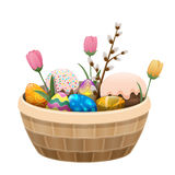 Basket of Easter Attributes Isolated Illustration. Basket of Easter attributes isolated on white background. Willow branch, sweet Easter cake, painted eggs with Royalty Free Stock Image