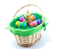 Basket with Easter Bunny and six hand painted chicken eggs Stock Image