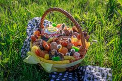 Basket with Easter cake, dried fruits and nuts on the green grass in garden stock photography