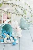 Basket of Easter Candy Eggs. A blue tin bucket tipped over, spilling Easter candy eggs onto a table. Shallow depth of field Stock Image