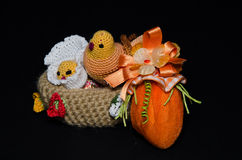 Basket with Easter chicks and egg Stock Images