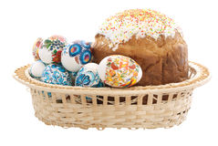 Basket of Easter eggs. And Pasco on a white background Royalty Free Stock Image