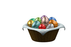 Basket Easter Eggs. A render of a basket full of colored easter eggs over a cloth Stock Photos