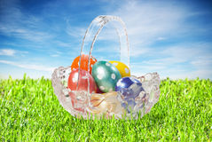 A basket with Easter eggs Royalty Free Stock Photo