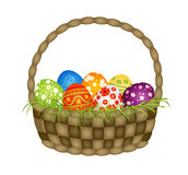 Basket with Easter eggs Stock Image