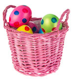 Basket easter eggs Stock Photos