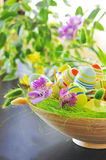 Basket with easter eggs Royalty Free Stock Images