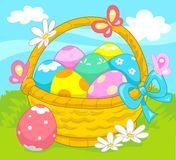 Basket of Easter eggs. Royalty Free Stock Photo