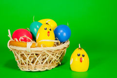 Basket with the Easter eggs Royalty Free Stock Photos
