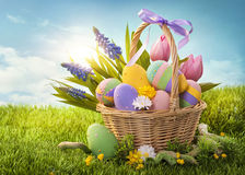 Basket with easter eggs Stock Photography