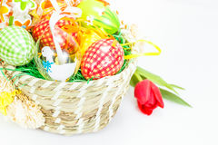 Basket with Easter Eggs Stock Images