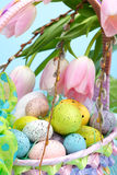 Basket of easter eggs Royalty Free Stock Photo
