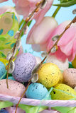 Basket of easter eggs Stock Photos
