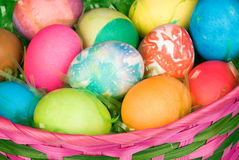 Basket of Easter eggs Stock Photography
