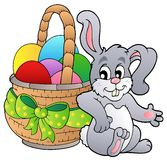 Basket with Easter eggs and bunny. Illustration