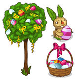 Basket with Easter eggs, Bunny and festive tree. Basket with Easter eggs, straw Bunny and a festive tree. Decoration for Easter. Vector illustration in cartoon Royalty Free Stock Images
