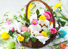 Basket with easter eggs and cake Royalty Free Stock Photo