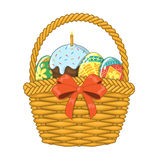 Basket with Easter eggs and cake Royalty Free Stock Photography