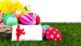 Basket of easter eggs with card Stock Image