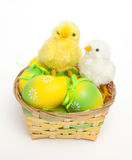 Basket with easter eggs and chicken toys Royalty Free Stock Image