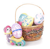 Basket of Easter Eggs Stock Images