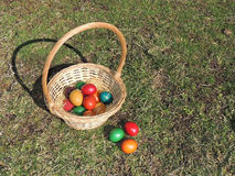 Basket with Easter Eggs. Basket with colorful Easter eggs on the ground Royalty Free Stock Image
