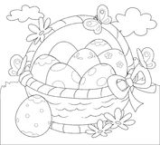 Basket of Easter eggs coloring vector Royalty Free Stock Photo