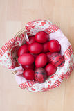 A basket of Easter eggs designed by child Royalty Free Stock Image