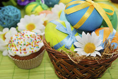 Basket of easter eggs and easter cake Royalty Free Stock Photography